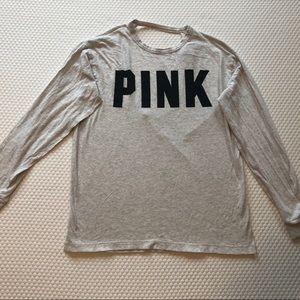 Pink - Women Grey Athletic Opened Back Long Shirt